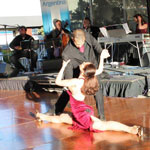 Dance Pasion and musicians 4xTango perform as the sun shines down in Birkenhead