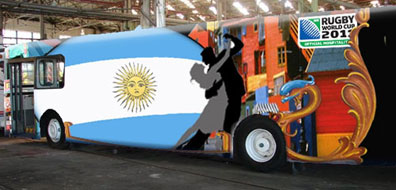 The official Argentina Tango bus with fold out stage that toured NZ during Rugby World Cup 2011