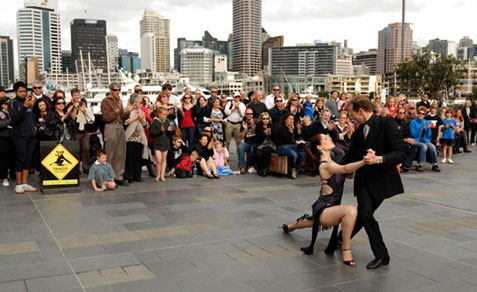 Performing down at Auckland Viaduct during Rugby World Cup, Oct 2011